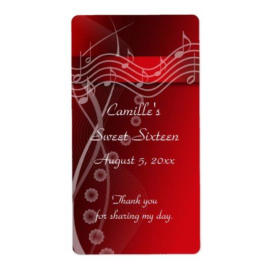 Red Sweet Sixteen Water Bottle Label