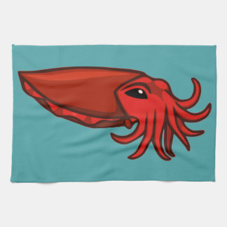Red Swimming Cuttlefish Kitchen Towel