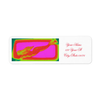 red swimming mermaid return address label