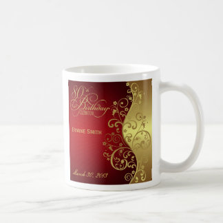 Red Swirl 80th Birthday Party Favor Mug