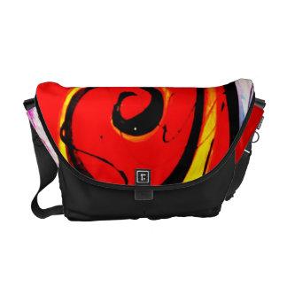 Red Swirl Abstract Art Commuter Bag