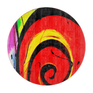 Red Swirl Abstract Art Cutting Board