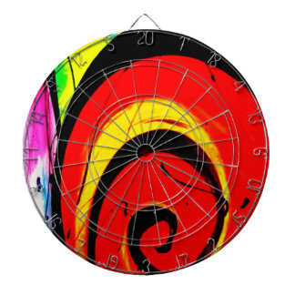 Red Swirl Abstract Art Dartboard
