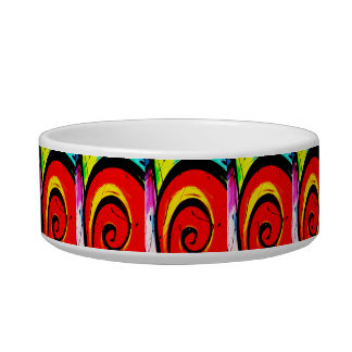Red Swirl Abstract Art Pet Water Bowls