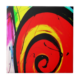 Red Swirl Abstract Art Tile
