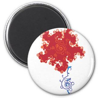 Red Swirl Flower 2 Inch Round Magnet