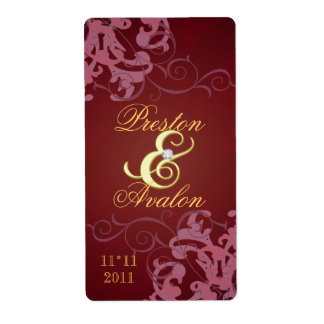 Red Swirl Gold Jeweled Wedding Wine Label Shipping Label