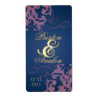 Red Swirl Gold Jewelled Blue Wine Label