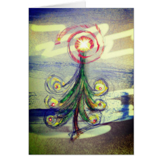 Red swirl Magical Christmas Tree greeting card