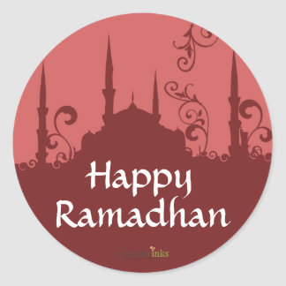 Red Swirl Mosque Stickers