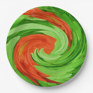 Red Swirls 9 Inch Paper Plate