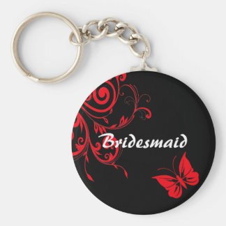Red Swirls and Butterfly Keychain