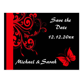 Red Swirls and Butterfly Save the Date Postcard