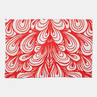 Red Swirls Curls Artistic Pattern Towel