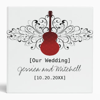 Red Swirls Guitar Wedding Binder