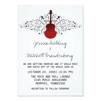 Red Swirls Guitar Wedding Invitation