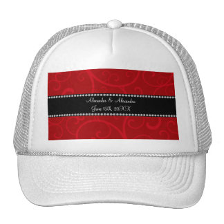 Red swirls wedding favors trucker hat