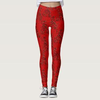 Red swirly twirly damask elegant Leggings