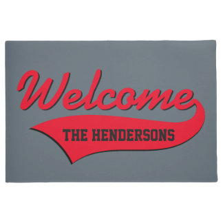 Red Swoosh Personalize Colors Text Doormat