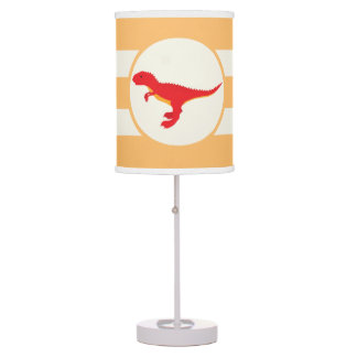Red T-Rex Dinosaur; Orange Stripes Table Lamp