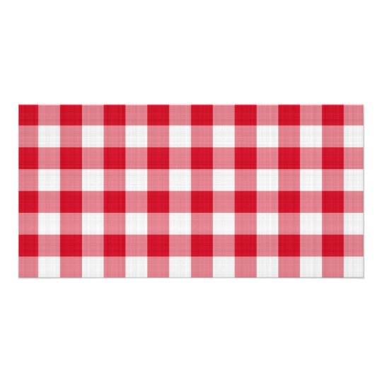 red table cloth photo card