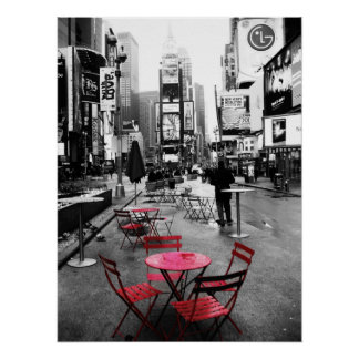 red table in time square poster - standard size