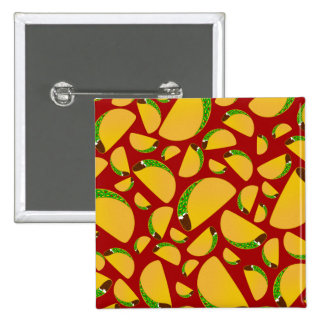 Red taco pattern 2 inch square button