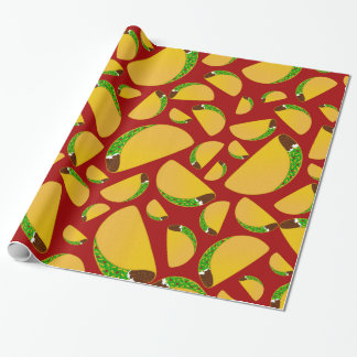 Red taco pattern wrapping paper