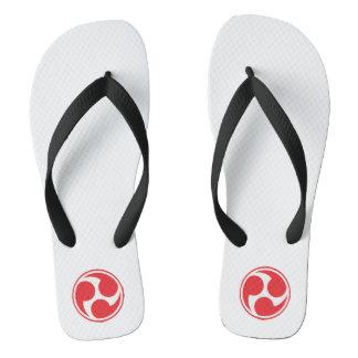 Red Taiko Mitsudomoe Flip Flops