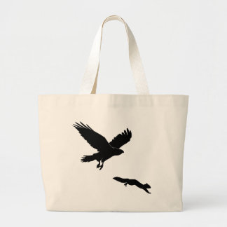 Red tail on squirrel silouette large tote bag