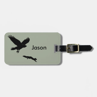 Red tail on squirrel silouette luggage tag