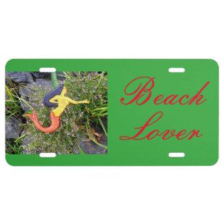 Red-tail  sirena mermaid beach lover license plate