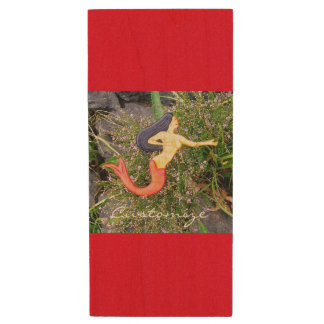 red-tail sirena mermaid wood USB 2.0 flash drive