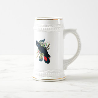Red tailed, Black (Banksian) Cockatoos. Beer Stein