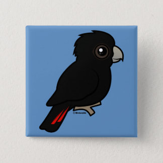 Red-tailed Black Cockatoo 2 Inch Square Button