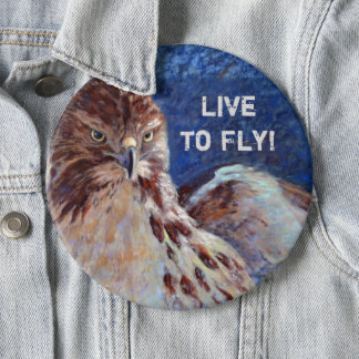 Red Tailed Hawk 6 Inch Round Button