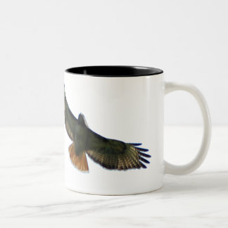 RED TAILED HAWK FLYING Two-Tone COFFEE MUG