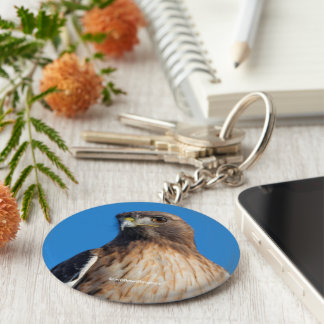 Red-Tailed Hawk in the Sun Basic Round Button Keychain