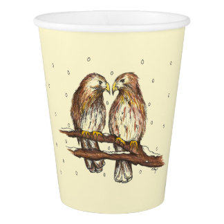 Red-Tailed Hawk Lovebird Snow Christmas Holiday Paper Cup