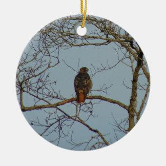 Red Tailed Hawk Round Ceramic Ornament