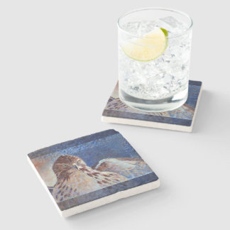 Red Tailed Hawk Stone Coaster