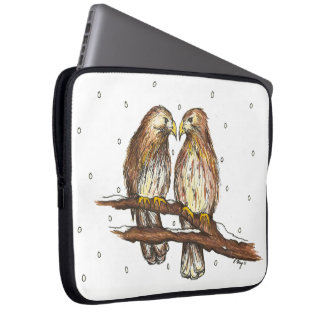 Red-Tailed Hawks Love Bird Watching Snow Winter Laptop Sleeve