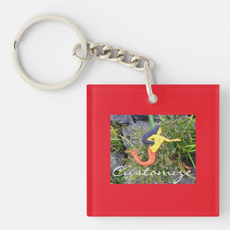 red-tailed sirena mermaid Single-Sided square acrylic keychain