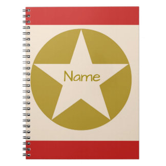 Red Tan and Gold Star in a Circle Name Notebook