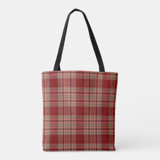 Red Tan Ecru Tartan Plaid Tote Bag