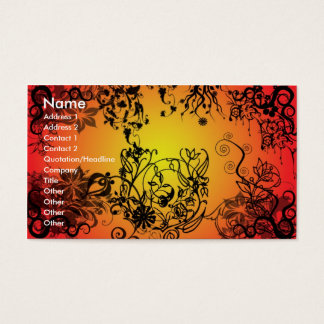 Red Tangled Floral Business Card