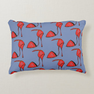 Red Tango Shoe Pillow, blue back Accent Pillow