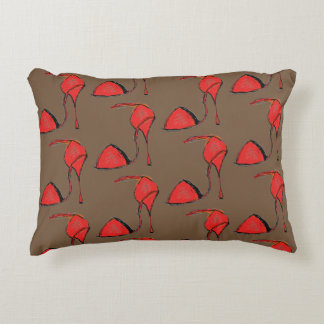 Red Tango Shoe Pillow, Brown back Decorative Pillow