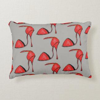 Red tango show pillow, gray back decorative pillow