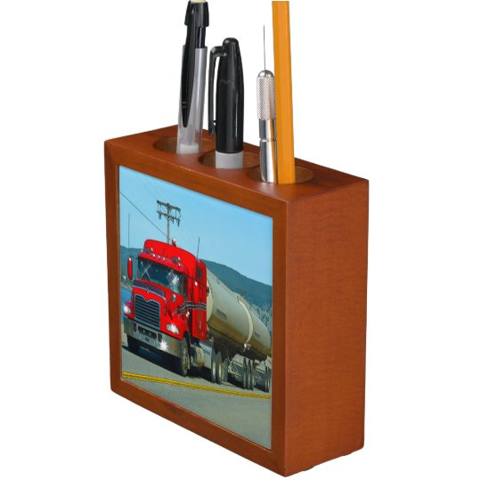 Red Tanker Truck Highway Driving Lorry 3 Pencil/Pen Holder